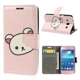 Galaxy Core Plus vaaleanpunainen lompakkokotelo