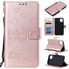 iPhone 11 Pro Max ruusukulta pöllöpariskunta suojakotelo