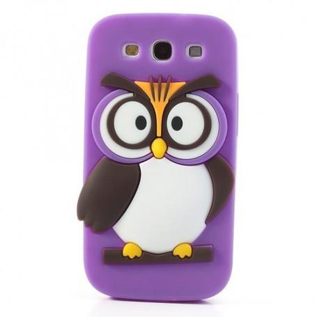 Galaxy S4 violetti pöllö silikonisuojus.