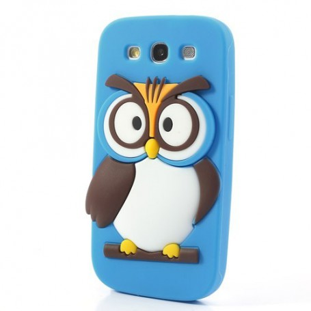 Galaxy S3 sininen pöllö silikonisuojus.