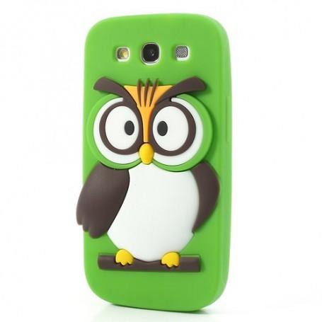 Galaxy S3 vihreä pöllö silikonisuojus.