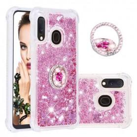 Samsung Galaxy A20e pinkki glitter hile sormuspidike suojakuori