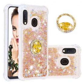 Samsung Galaxy A20e kullanvärinen glitter hile sormuspidike suojakuori