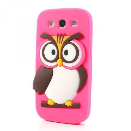 Galaxy S3 hot pink pöllö silikonisuojus.