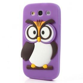 Galaxy S3 violetti pöllö silikonisuojus.