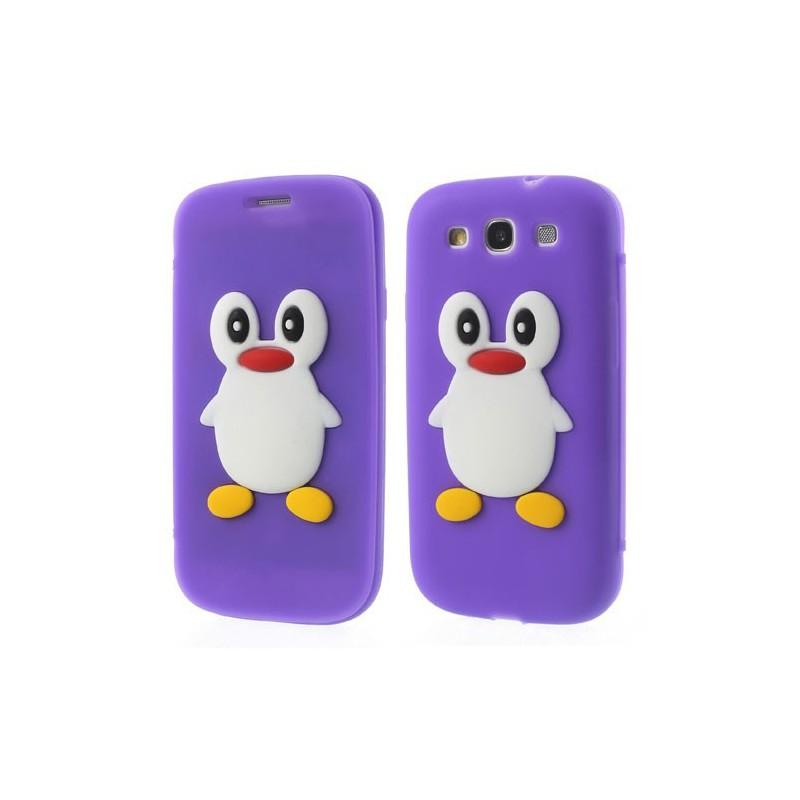 Galaxy S3 violetti kannellinen pingviini silikonisuojus.