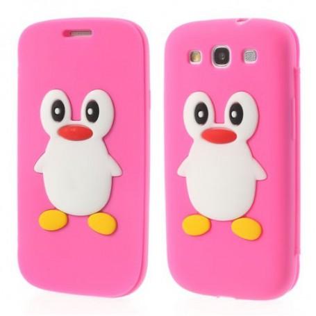 Galaxy S3 hot pink kannellinen pingviini silikonisuojus.