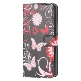 Samsung Galaxy A71 kukkia ja perhosia suojakotelo