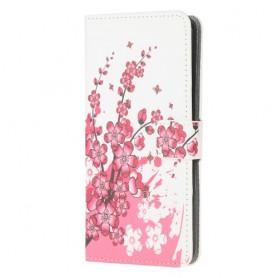 Samsung Galaxy A71 vaaleanpunaiset kukat suojakotelo