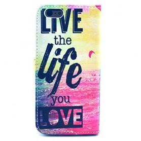 iPhone 6/6s/7/8/SE 2020 live life puhelinlompakko