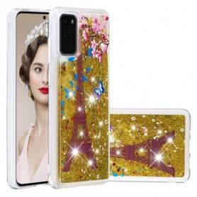 Samsung Galaxy S20 glitter hile Eifel-torni suojakuori