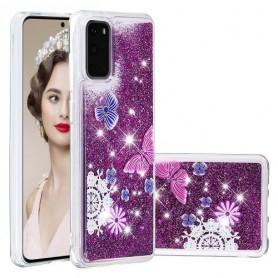 Samsung Galaxy S20 glitter hile perhoset suojakuori