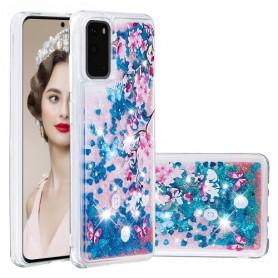 Samsung Galaxy S20 glitter hile kukat ja perhoset suojakuori