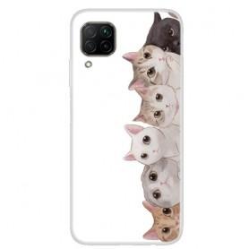 Huawei P40 Lite läpinäkyvä kissat suojakuori