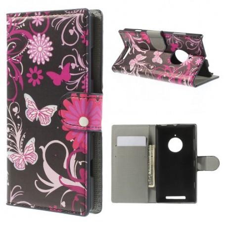 Lumia 830 kukkia ja perhosia puhelinlompakko