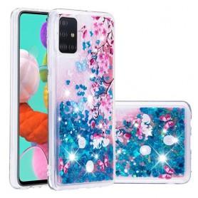 Samsung Galaxy A51 glitter hile kukkia ja perhosia suojakuori