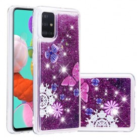 Samsung Galaxy A51 glitter hile perhoset suojakuori