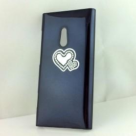 Lumia 800 musta timanttisydän suojakuori.