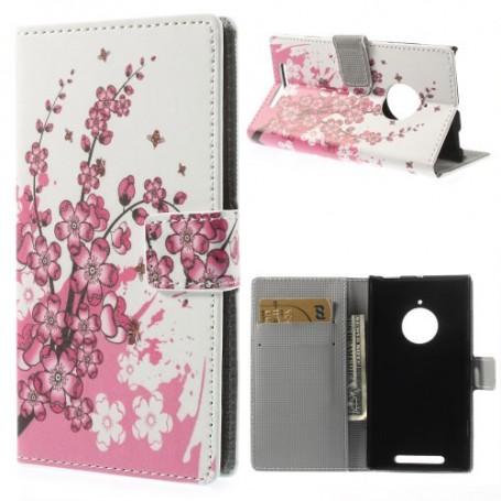 Lumia 830 vaaleanpunaiset kukat puhelinlompakko