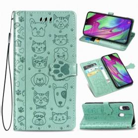 Samsung Galaxy A40 mintunvihreä kissa ja koira suojakotelo