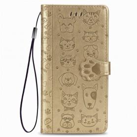 iPhone 7/8/SE 2020 kullanvärinen kissa ja koira suojakotelo