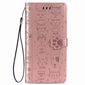 iPhone 7/8/SE 2020 ruusukulta kissa ja koira suojakotelo