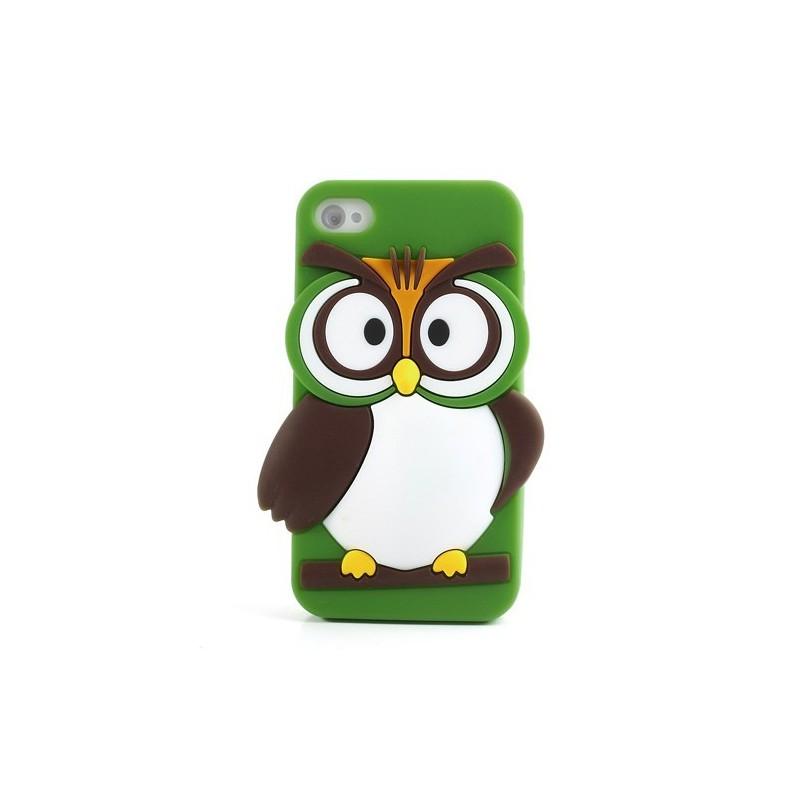 iPhone 4s vihreä pöllö silikonisuojus.