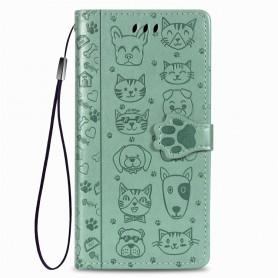 iPhone 6/7/8/SE 2020 mintunvihreä kissa ja koira suojakotelo
