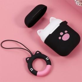 AirPods kotelon suojakuori musta kissa