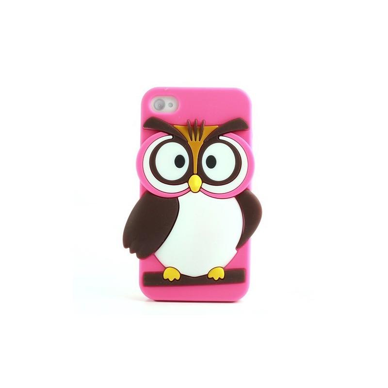 iPhone 4s hot pink pöllö silikonisuojus.