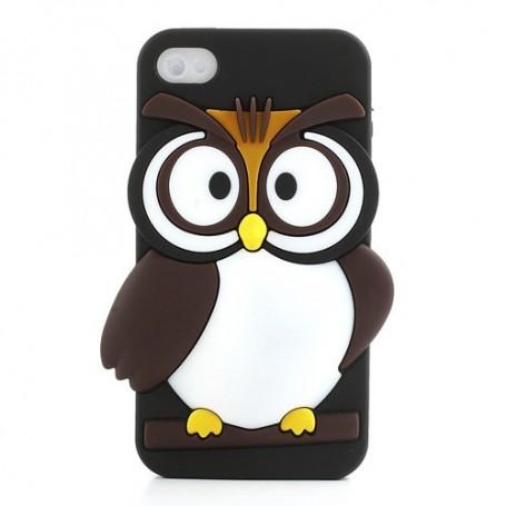 iPhone 4s musta pöllö silikonisuojus.