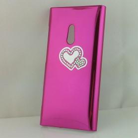Lumia 800 hot pink timanttisydän suojakuori.