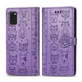 Samsung Galaxy A41 violetti kissa ja koira suojakotelo