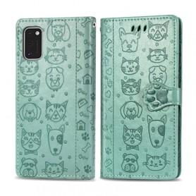 Samsung Galaxy A41 mintunvihreä kissa ja koira suojakotelo