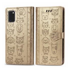 Samsung Galaxy A41 kullanvärinen kissa ja koira suojakotelo