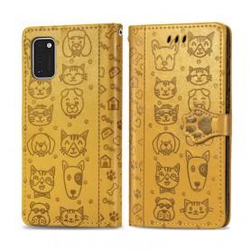 Samsung Galaxy A41 keltainen kissa ja koira suojakotelo