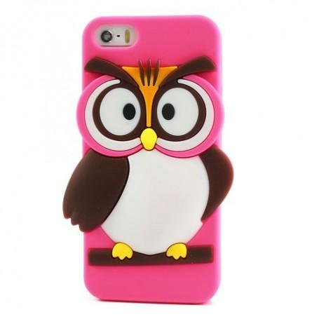 iPhone 5s hot pink pöllö silikonisuojus.