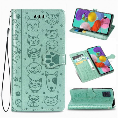 Samsung Galaxy A51 mintunvihreä kissa ja koira suojakotelo