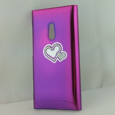 Lumia 800 violetti timanttisydän suojakuori.