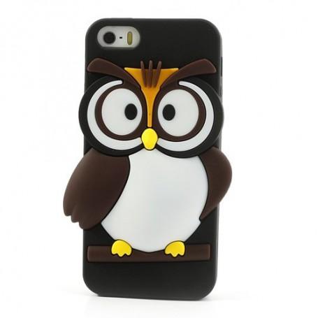 iPhone 5s musta pöllö silikonisuojus.
