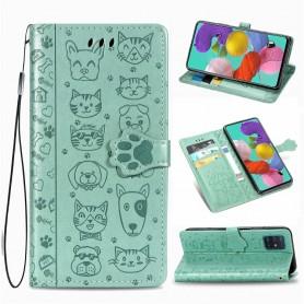 Samsung Galaxy A71 mintunvihreä kissa ja koira suojakotelo