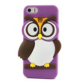 iPhone 5s violetti pöllö silikonisuojus.