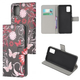 Samsung Galaxy A41 kukkia ja perhosia suojakotelo