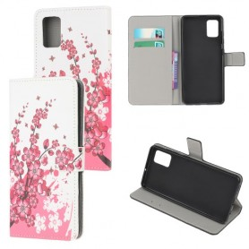 Samsung Galaxy A41 vaaleanpunaiset kukat suojakotelo