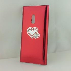 Lumia 800 punainen timanttisydän suojakuori.