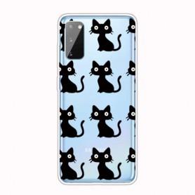 Samsung Galaxy A41 läpinäkyvä kissat suojakuori