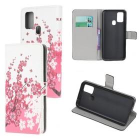 Samsung Galaxy A21s vaaleanpunaiset kukat suojakotelo