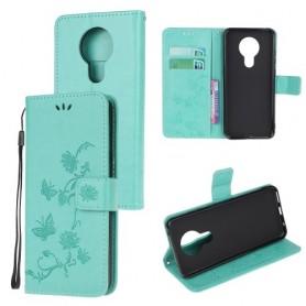 Nokia 5.3 mintunvihreä kukkia ja perhosia suojakotelo
