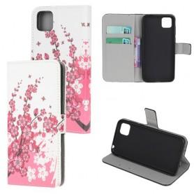 Huawei Y5P vaaleanpunaiset kukat suojakotelo