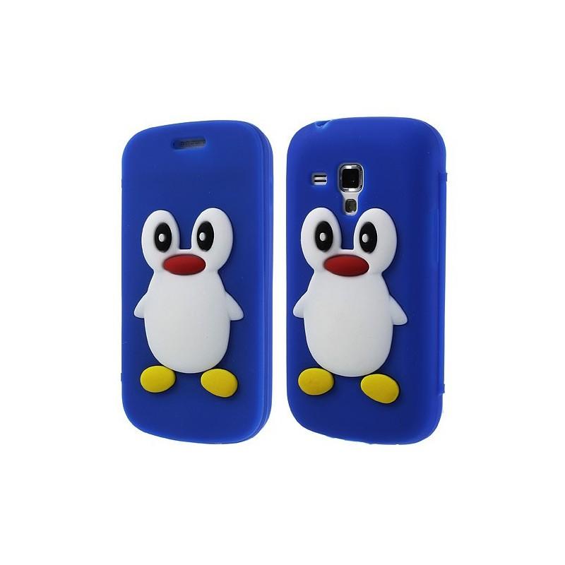 Galaxy Trend tumman sininen kannellinen pingviini silikonisuojus.